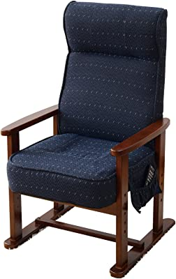 山善 高座椅子 レバー式 リクライニング(背もたれ) 高脚 ハイバック ポケットコイル 立ち座りがラク 高さ調節可能 ポケット付き 組立品 ブルー PTZ-55(BL)*