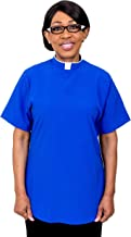 Mercy Robes Ladies Short Sleeves TAB Clergy Blouse (Royal Blue)
