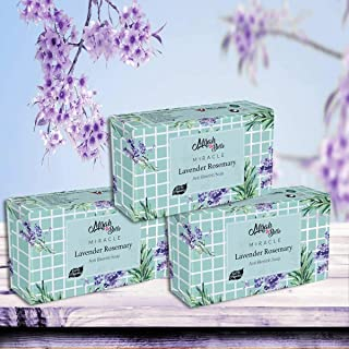 Mirah Belle - Organic Lavender Rosemary Anti - Acne Soap Bar (Pack of 3-125 gm) - Oily Skin Soap - Best for Clogged Pores,...