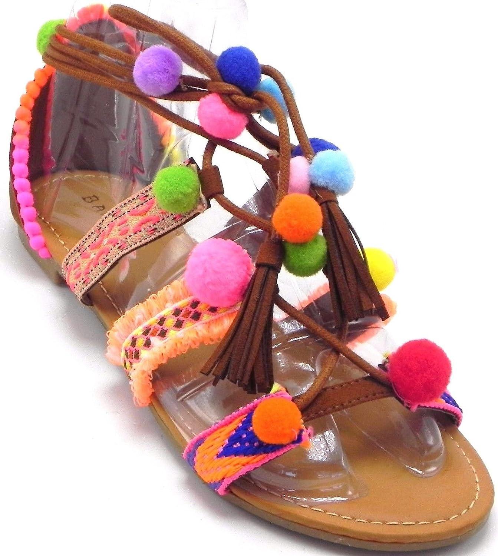 DEV Bamboo Forever Smartty Women's Pom-Pom Flip Flop Bohemia Embellished Ankle Swirl Wrap Lollipop colorful Flat Sandal shoes