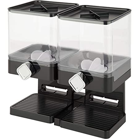 Zevro Compact Dry Food Dispenser, Dual Control, Black/Chrome