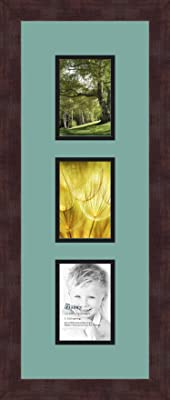 Art to Frames Double-Multimat-879-767//89-FRBW26061 Collage Frame Photo Mat Double Mat with 3-3.5x5 Openings and Espresso Frame