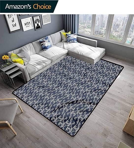 桌布叶子 Ikat 区域地毯入口花卉漩涡图案图案印花地毯耐用地毯生活餐厅办公室卧室走廊地毯 2X6