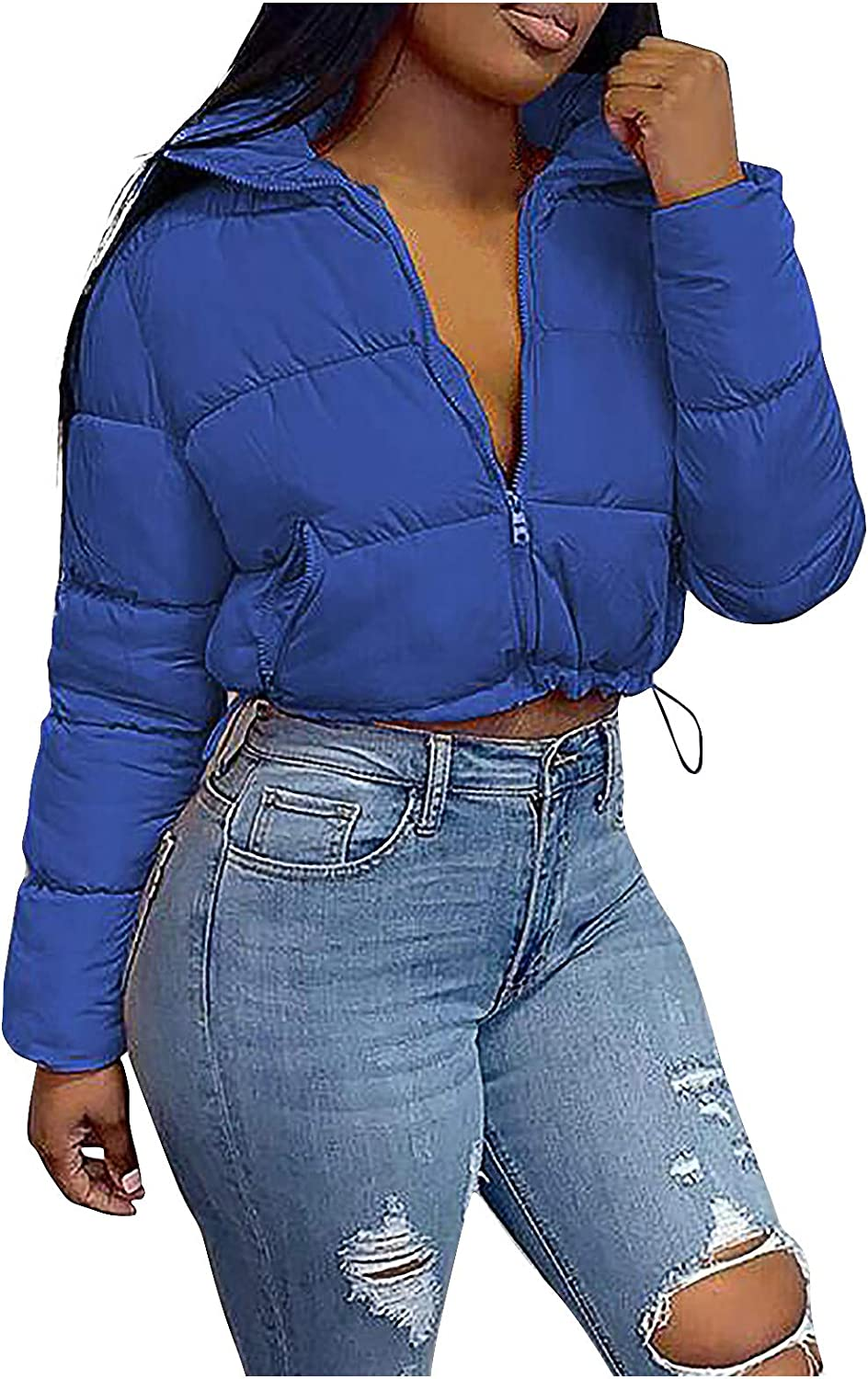 Cropped Puffer Jacket Women Crop Jacket Padded Puffer Solid Stand-up Collar Zip Up Short Coat Cropped