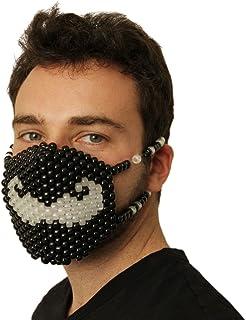 Kandi Gear Mascara Kandi que Brilla en la Oscuridad de Bigote, mascara de musica electronica,mascara de halloween, mascara de cuentas, mascara para festiva;es de musica y fiestas