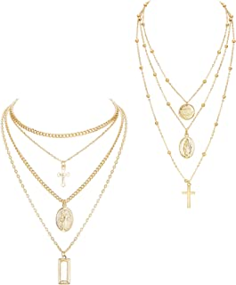 2PCS Layered Choker Necklaces for Women Girls Tag Coin Cross Crucifix Blessed Virgin Mary Pendant Necklace Chain Silver Tone Gold Tone