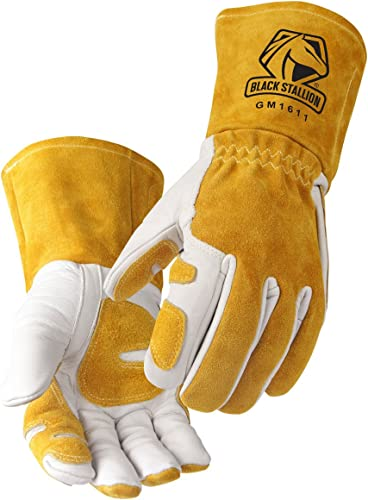 """high quality Revco GM1611 Top Grain Leather discount Cowhide MIG Welding Gloves with Reinforced Palm & Thumb & Index Finger, Seamless Forefinger, discount 5"""" Cuff for Extra Protection (Large) sale"""
