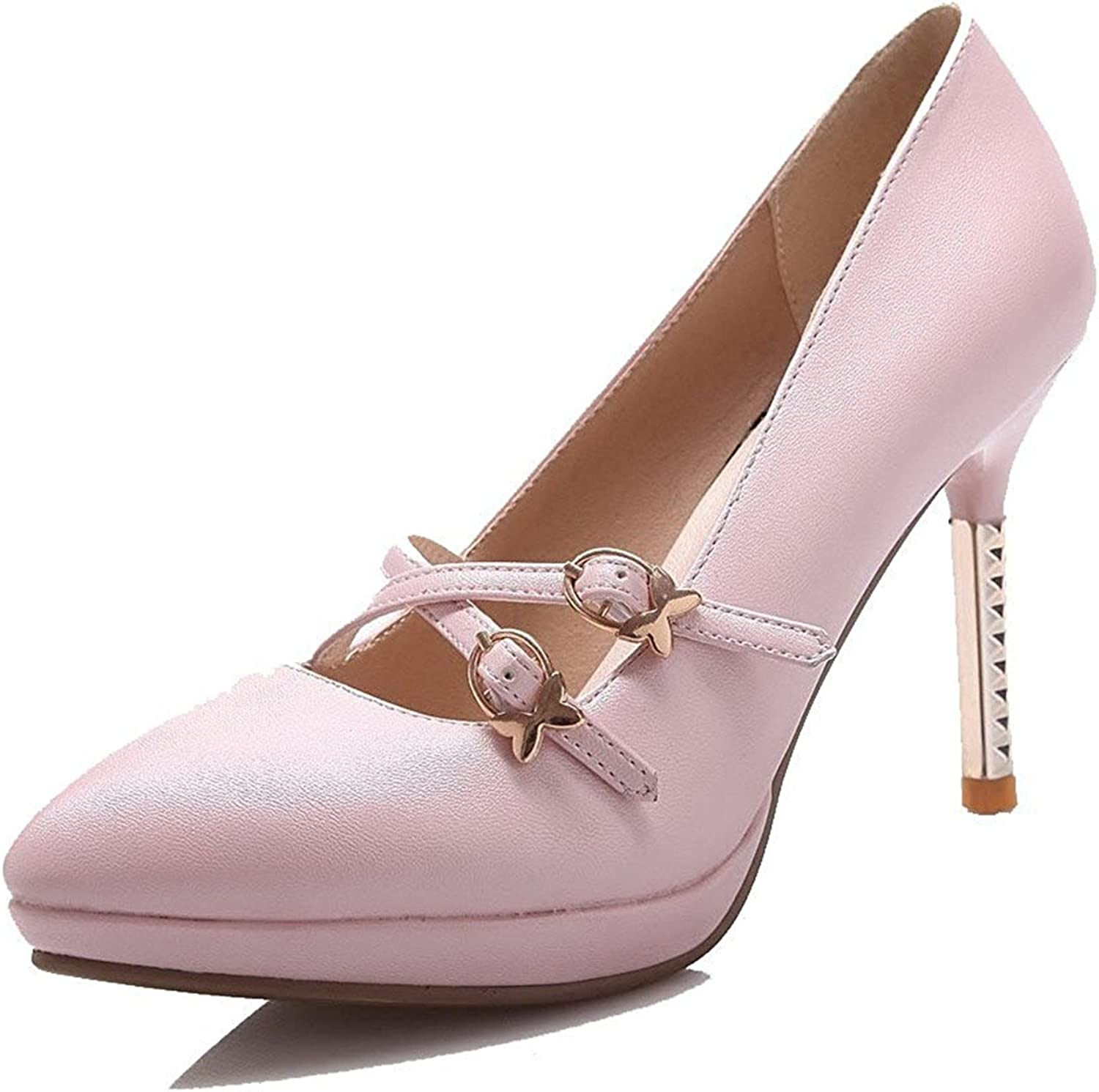 Tirahse Comfortable Women's Soft Material Buckle Pointed Closed Toe High-Heels Solid Pumps-shoes