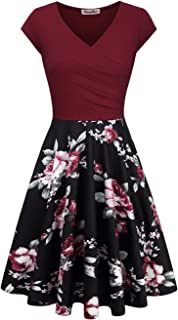 Women's Floral Printed Dress, A Line Cap Sleeve V-Neck Elegant Dress with Pockets Cocktail Party Dress