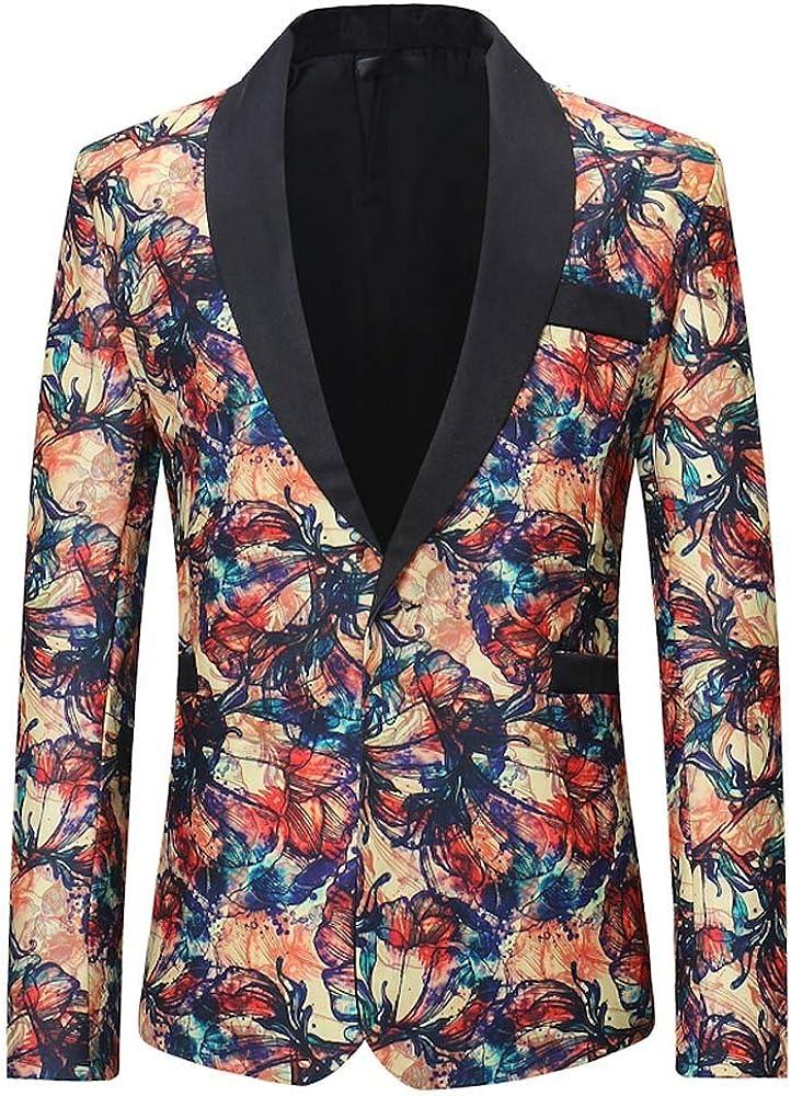 MODOQO Men's Floral Party Dress Suit Stylish Dashiki Dinner Jacket Wedding Blazer Prom Tuxedo