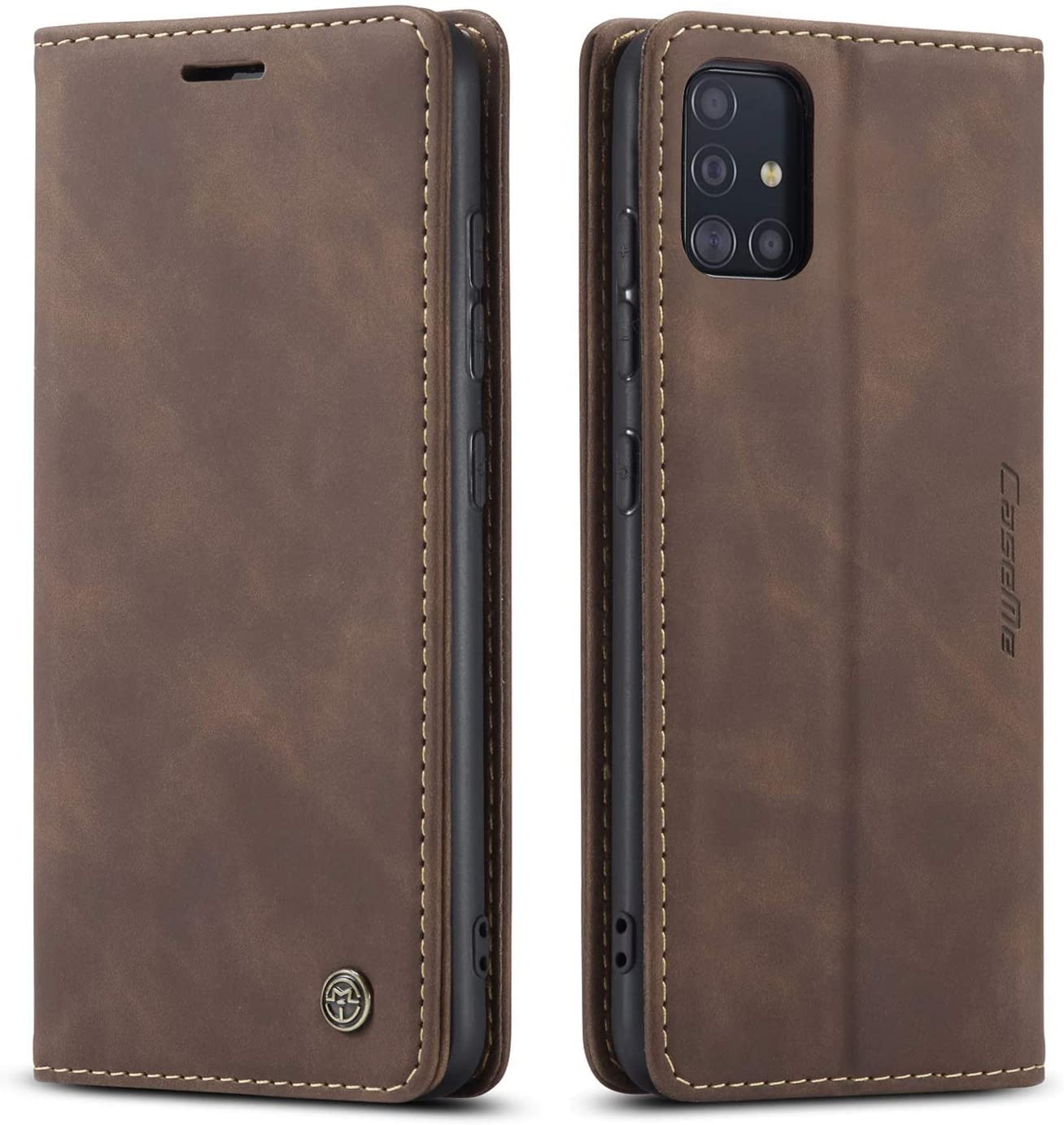 Samsung Galaxy A51 5G Wallet Case Credit Card Holder,Magnetic Stand Leather Flip Case,Durable Shockproof Protective Cover for Samsung Galaxy A51 5G 6.5 Inch (Coffee)