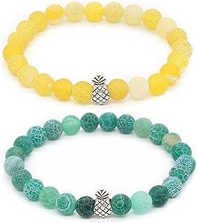 Pineapple Charm Bracelets for Lovers Couple Black Matte Agate & White Howlite 8mm Beads Bracelet, 7.6