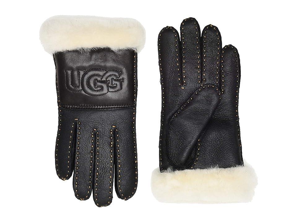 UGG Water Resistant Sheepskin Logo Gloves (Black Leather) Extreme Cold Weather Gloves