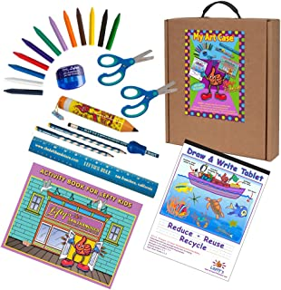 Left-handed Art and Activity Kit (Activity Book, Pencils, Scissors & More) Cool Blue & Green Tones, 23 Pc Set