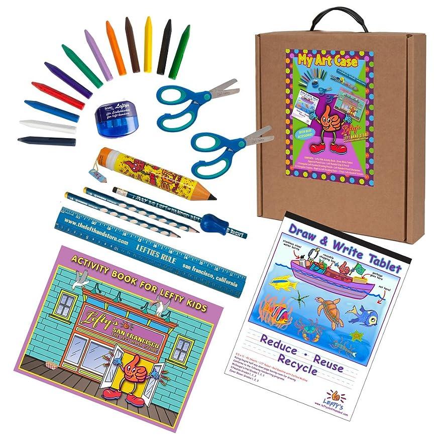 Left-handed Art and Activity Kit (Activity Book, Pencils, Scissors & More) Cool Blue & Green Tones, 23 Pc Set