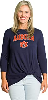 Flying Colors Women's NCAA Officially Licensed Auburn University Tigers   The Lylah - Cozy 3/4 Sleeve Twist Front Top