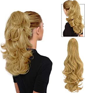 """FESHFEN 19""""Long Curly Synthetic Ponytail Extension Clip In/On Claw Hair Piece Drawstring(Strawberry Blonde)"""