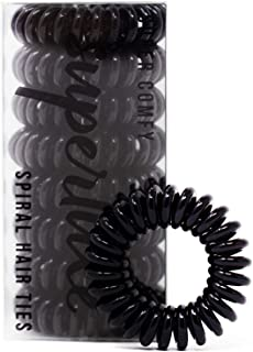 SUPERLUXE 8pk Black Spiral Hair Ties - Painlessly keep your hair up with no crease, damage, or tangles transparent ponytail holder hair bands - small coil elastic hair accessory for all hair types