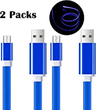 YICHUMY 2 Packs! Glow in the Dark Micro Usb Cable Light Up Android Charging Cable Data Sync for Samsung Galaxy S6 S7 Edge ,HTC,LG,Sony Luminous Micro Usb Cable Fast Charge Led Cable Set of 2 (Blue)
