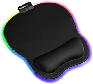 Qudodo RGB Mouse Pad with Wrist Support,11Types RGB Mode,Static,Breathing Cycle,Marquee Effect,Memory Foam Wrist Support P...