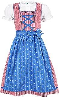 Isar-Trachten Kinder Dirndl Pauline - Rot Blau - 3-TLG. Kleid Bluse und Schürze für Mädchen