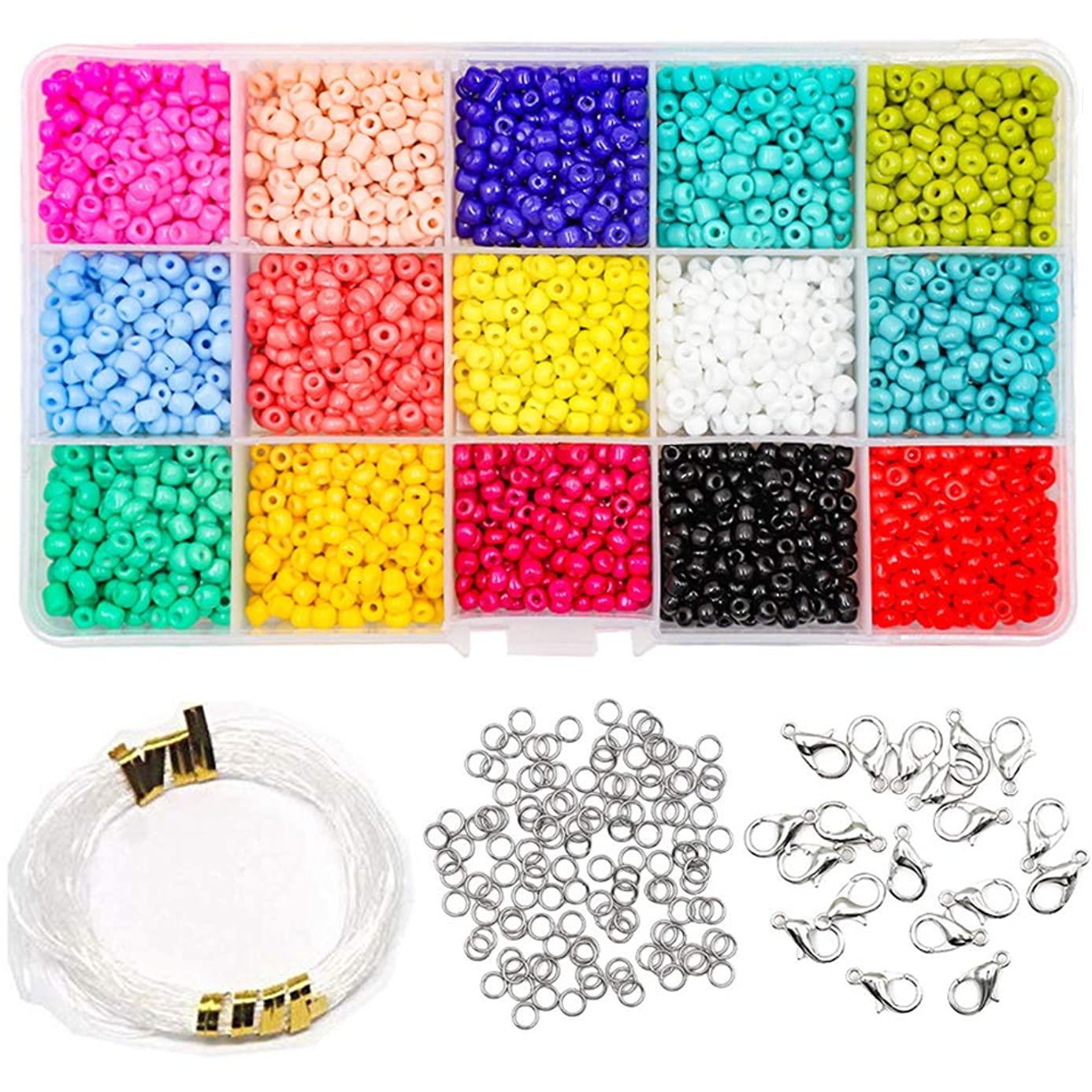 ZTL 2250pcs 15 Colors Glass Seed Beads for Jewelry Making, Bracelets, Necklaces, Key Chains with 1 Roll 16m Elastic String, 20pcs Lobster Clasps and 50pcs Open Jump Rings (3mm Round, Hole 0.6mm) yop9107938