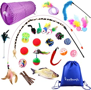 Koolbunjil 30pcs Assorted Cat Toys Including a Storage Bag – Cat Tunnel - Colourful Fluffy Mouse - Feather Teaser Wand - J...