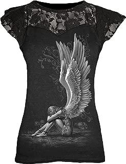 Womens - Enslaved Angel - Lace Layered Cap Sleeve Top Black