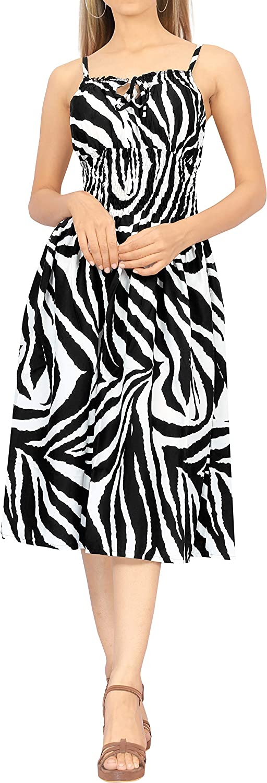 LA LEELA Women's Plus Size Beach Dress Summer Casual Tube Swing Dress Printed B