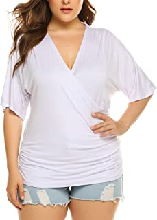 IN'VOLAND Plus Size Women V Neck Wrap Front Drape Tops Short Sleeve Pleated Waist Shirt Blouse