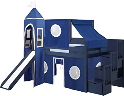 JACKPOT! Castle Low Loft Stairway Bed with Slide Blue & White Tent and Tower, Loft Bed, Twin, Blue