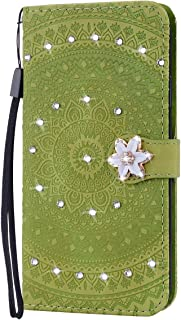 Gostyle Leather Wallet Case for Samsung Galaxy S10 5G,Embossed Mandala Flower Magnetic Flip Case Bling Glitter Diamond Rhinestone Stand Cover with Card Holder Hand Strap,Grass Green