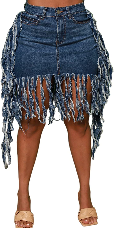 chouyatou Women's Streetwear Frayed Tassel Design Distressed Short Denim Skirt