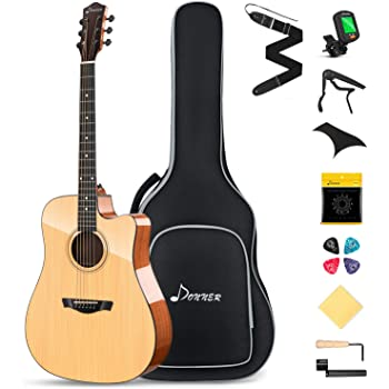 Donner DAD-812C Solid Top Acoustic Guitar Cutaway 41 Inch Guitar Bundle Kit for Beginners Adults with Gloss Finish Gig Bag Tuner Capo Picks Strap String
