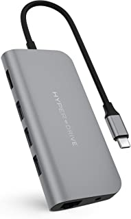 HyperDrive USB-C Hub Adapter for iPad Pro, MacBook Pro/Air, Power 9-in-1 USBC Hub Dongle with 4K HDMI, USB-C PD, Gigabit E...