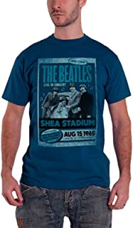 T Shirt Shea Stadium 1965 Vintage Poster Band Official Mens Blue
