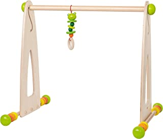HABA Color Fun Play Gym - Wooden Activity Center with Adjustable Height, Sliding Discs and Dangling Frog