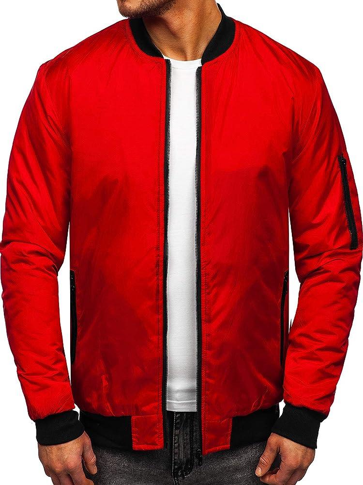 Bolf, giacca,giubotto bomber  con cerniera ,casual ,da uomo,100% nylon J.STYLE MY-01