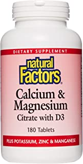 Natural Factors, Calcium & Magnesium Citrate with Vitamin D3, Support for Bones and Teeth, 180 Tablets
