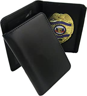 ASR Federal Genuine Leather Unisex Law Enforcement Badge Holder Wallet Case - Shield, Black
