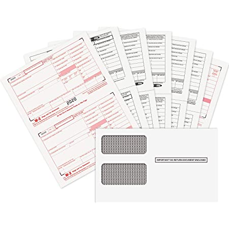 Kit with Envelopes for 50 Employees 4-Part 2018 Tangible Values W-2 Laser Forms