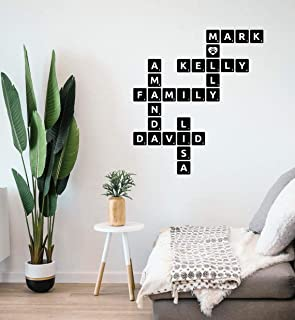 3D Personalized Black Wooden scrabble tiles   Wooden Letters   Custom family name sign   Scrabble letters   Wall art   Alphabet letters