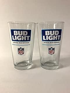 Bud Light NFL - Retro Design - 16oz Glass - 2 Pk