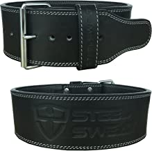 Steel Sweat Weight Lifting Belt - 4 Inches Wide by 10mm - Single Prong Powerlifting Belt That's Heavy Duty - Genuine Cowhide Leather - Bolt