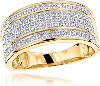 Unique Wedding Bands 10K Gold Five Row Natural 0.4 Ctw Diamond Ring For Men