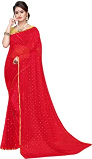 Yashika Chiffon Sarees with Foil Print and attached Blouse Piece (BUNDI Free Size)