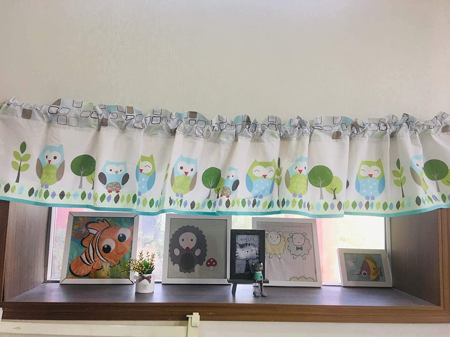 Green NEW before selling Owl Nursery Window Valance 1 Free Shipping New PC Room Windo Baby Decorative