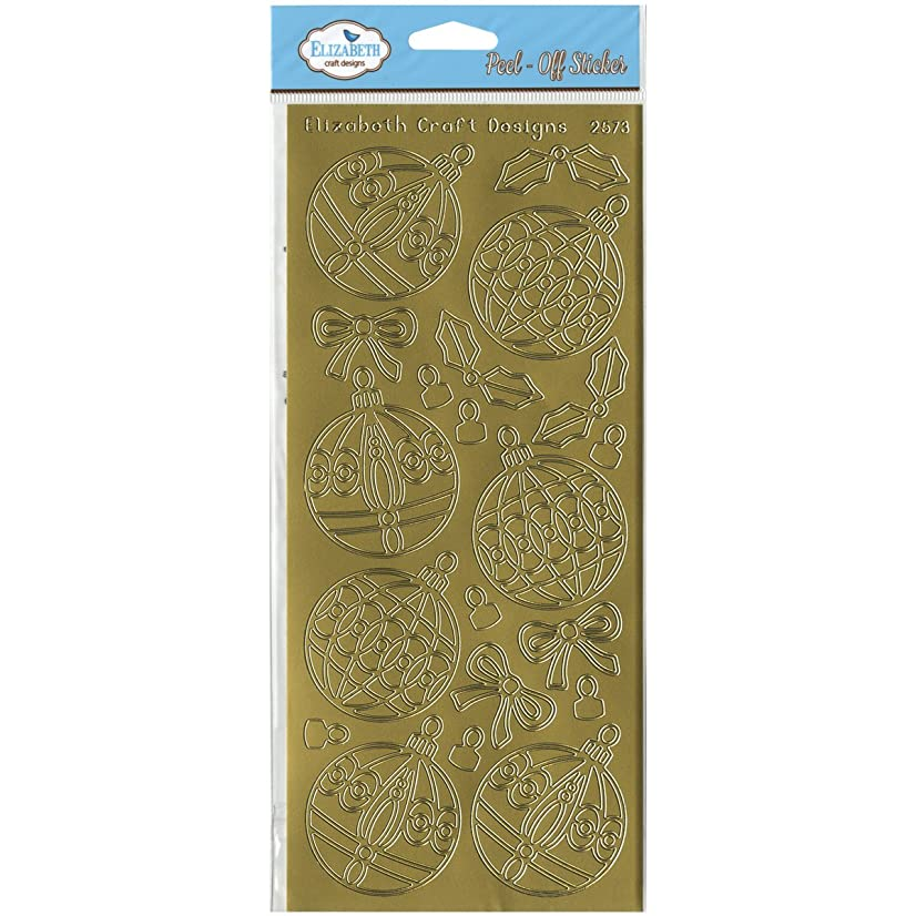 Elizabeth Craft Designs Christmas Ornaments Round Peel-Off Stickers, Gold