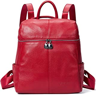BOSTANTEN Geniune Leather Fashion Backpack Purse Casual School Bags for Women Red