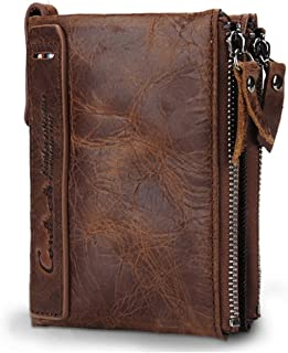 CONTACTS Men's Genuine Leather RFID Blocking Wallet (Brown)